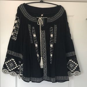 Free People embroidered blouse size large